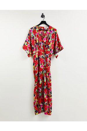 Liquorish Kimono jumpsuit in floral print-Multi