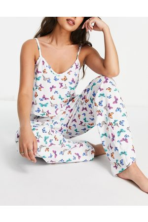 Wednesday's Girl Cami and pants pyjama set in butterfly print-White