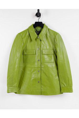 Muubaa Pocket front leather shacket in sage green