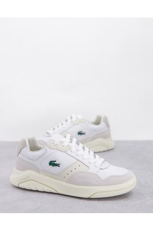 Lacoste Game Advance luxe suede panel sneakers in off white