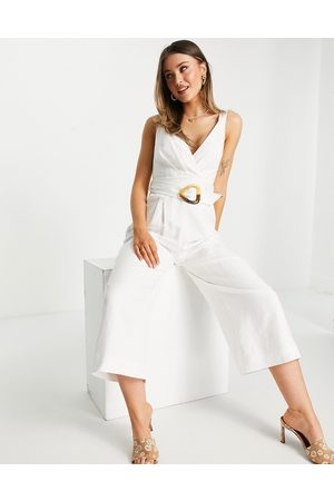 Forever New Cami wrap wide leg jumpsuit with tortoiseshell buckle in white