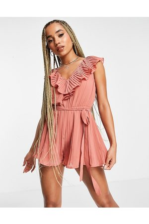 Rare Women Playsuits - London pleated playsuit with ruffle detail in pink