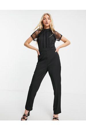Liquorish Lace jumpsuit in black