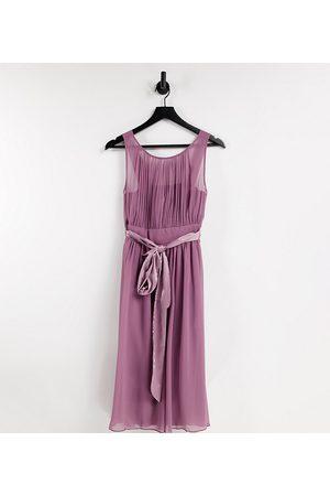 Little Mistress Bridesmaid skater dress in mauve-Purple