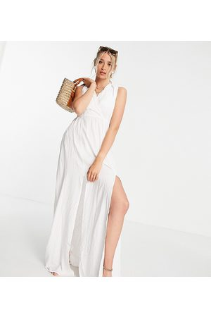 ASOS Tall recycled gathered detail maxi beach dress in white