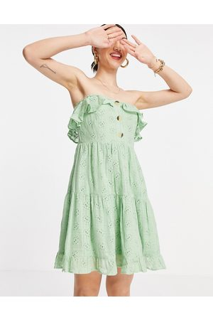 ASOS Bandeau mini sundress with pephem in broderie in green