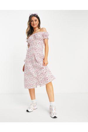 Influence Cotton poplin bardot floral midi dress-Multi