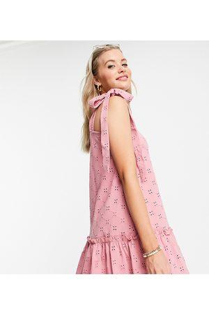 ASOS ASOS DESIGN Tall broderie tie strap pep hem mini dress in rose-Pink