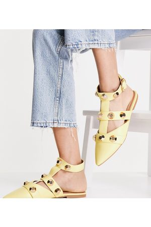 ASOS Wide Fit Lorina studded ballet flats in lemon-Yellow