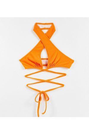 Collusion Halterneck bikini top in orange towelling