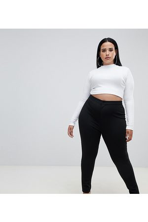 ASOS ASOS DESIGN Curve high-waisted stretch pants in black