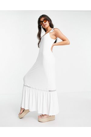 ASOS DESIGN Frill sleeve maxi sundress with lace inserts in white