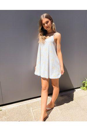 ASOS V neck swing mini slip dress in blue daisy print-Multi