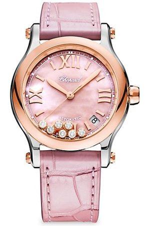 Chopard Happy Sport 18K Rose Gold, Stainless Steel, Diamond & Alligator-Strap Watch