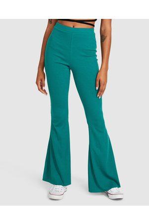 Don't Ask Amanda Women Wide Leg Pants - Rocko Ribbed Flare Pants