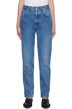 Loewe Women Tapered - Leather anagram back pocket tapered jeans