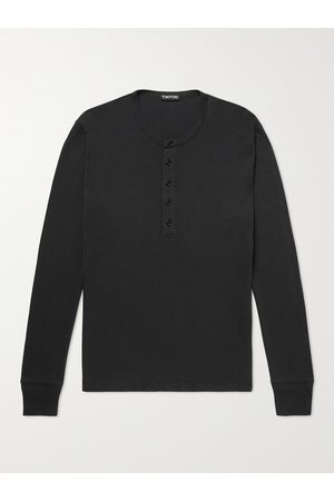 Tom Ford Men Long Sleeve - Slim-Fit Cotton and Modal-Blend Jersey Henley T-Shirt