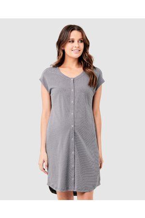 Ripe Maternity Blake Organic Short Sleeve Nightie - Sleepwear (Gunship/ ) Blake Organic Short Sleeve Nightie