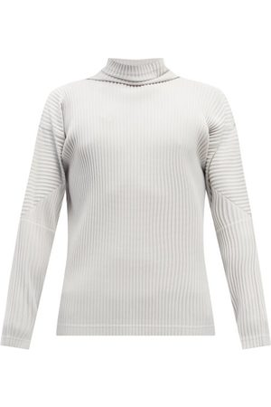 HOMME PLISSÉ ISSEY MIYAKE Roll-neck Pleated-jersey Long-sleeved Top - Mens - Light