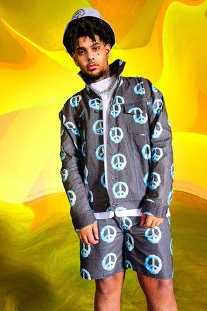 Boohoo Men Denim Jackets - Mens True Oversized Blue Peace Aop Denim Jacket