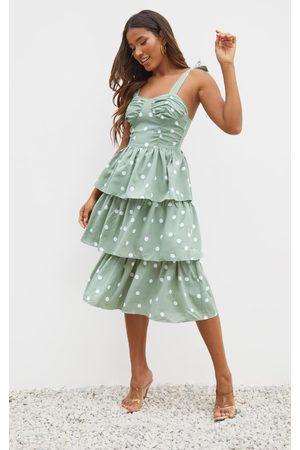 PRETTYLITTLETHING Sage Polka Dot Cup Detail Tie Strap Tiered Midi Dress