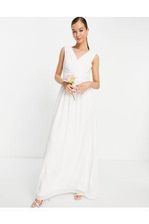 Little Mistress Bridal v-neck maxi dress in white