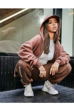 ASOS Co-ord oversized zip-through hoodie with logo in brown
