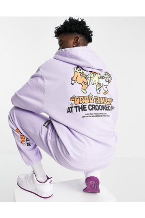 Crooked Tongues Outfit Sets - Co-ord hoodie with good times print in purple