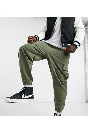 ASOS Organic oversized trackies with cargo pockets in khaki-Green
