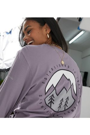 Columbia Cades Cove long-sleeved T-shirt in purple Exclusive to ASOS