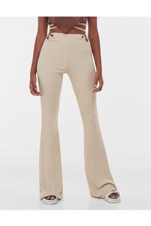 Bershka Wrap-around flare pants in beige-Neutral