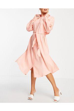 ASOS Maxi belted beach shirt dress in dusky pink