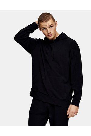 Topman Knitted hoodie in black