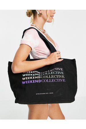 ASOS ASOS DESIGN Weekend Collective multi colour logo tote bag in black