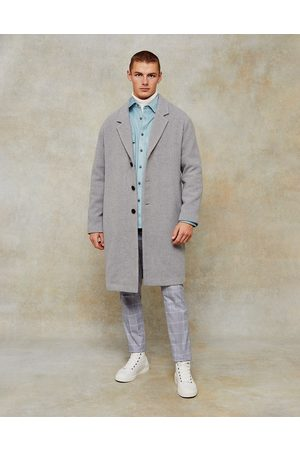 Topman Dropped shoulder coat with wool in grey