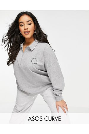 ASOS Curve polo sweatshirt with half zip and logo in grey marl