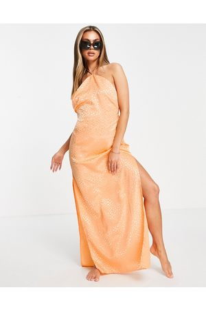 ASOS High neck slip beach dress in orange jacquard