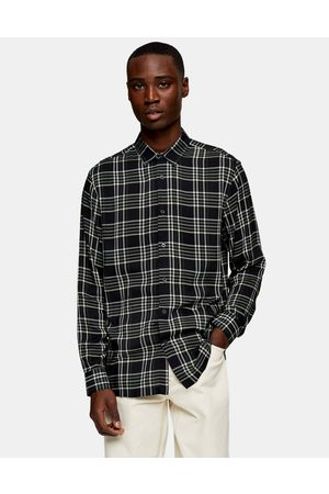 Topman Long-sleeved check shirt in black and grey-Multi