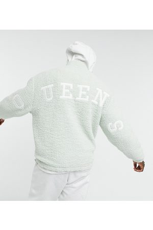 ASOS DESIGN Oversized teddy borg track top in pastel green with Queens back applique
