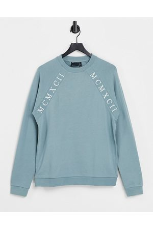 ASOS Outfit Sets - Co-ord oversized sweatshirt with Roman numerals tape detail in blue grey