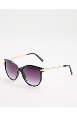 Accessorize Rubee flattop oversize sunglasses in black