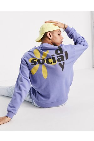 ASOS ASOS Daysocial oversized sweatshirt with graphic logo back print in blue