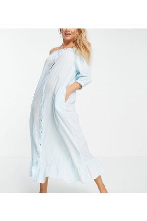 Y.A.S Exclusive sleep dress with frill hem in blue-Pink