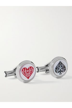 Mont Blanc Meisterstück Around the World in 80 Days Stainless Steel, Mother-of-Pearl and Enamel Cufflinks