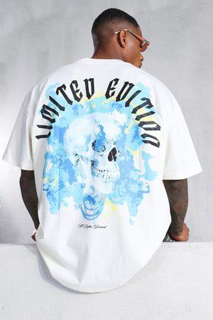Boohoo Mens Ecru Oversized Skull Graphic Extended Neck T-shirt