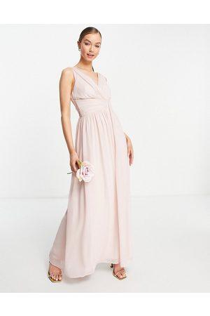 Little Mistress Bridesmaids v-neck maxi dress in pink