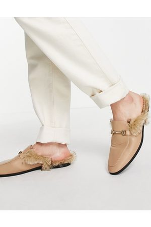 ASOS Loafers - Backless mule loafers in stone faux leather with faux fur-Neutral