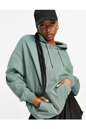 ASOS Outfit Sets - Organic cotton super oversized zip- through hoodie in olive green co-ord