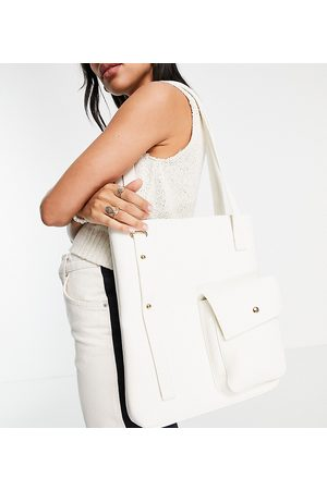 Glamorous Exclusive multi pocket tote shopper bag in canvas-Neutral