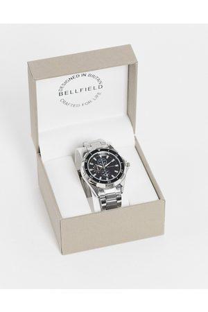 Bellfield Men's silver bracelet watch with black dial